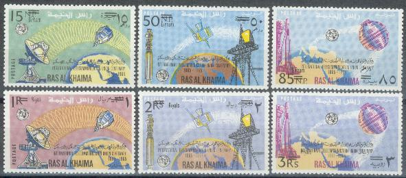 Ras-al-Khaima-1966-Mi-106-11-A-Fernmeldeunion-ITU-Telecommunication-Satellit